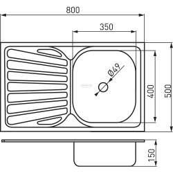 Единична мивка 50x80 см, лява, покритие лен 1