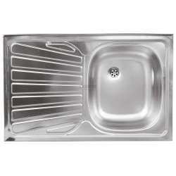 Единична мивка 50x80 см, лява, покритие лен DR50/80AL.H