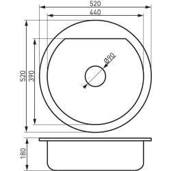 Bizzy - единична, кръгла Ø52 см, гранитна, графит 2