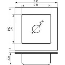 Kizz, единична, квадратна, гранитна, графит 2