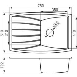 Mezzo единична, гранитна, графит 78x51 2
