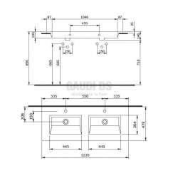Bocchi Milano 120см двоен умивалник за монтаж върху шкаф или плот бял гланц 2