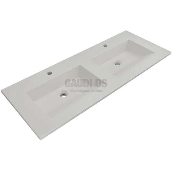 Bocchi Milano 120см двоен умивалник за монтаж върху шкаф или плот бял гланц 1111 001 0126