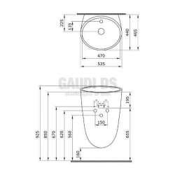Bocchi Venezia 55см умивалник моноблок за стена бял гланц с отвор за смесител 2