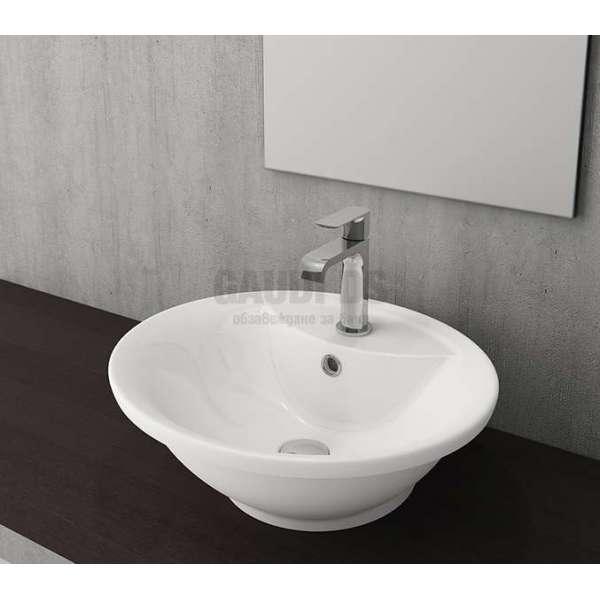 Bocchi Verona 50см умивалник за монтаж върху или под плот бял гланц с отвор за смесител 1046 001 0126