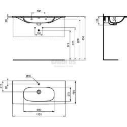 Мивка за мебел TESI 102 см 2