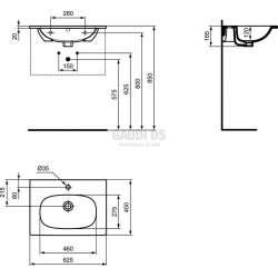 Мивка за мебел TESI 62 см 2