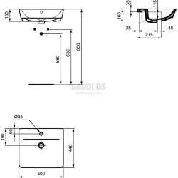 Connect Air мивка за полувграждане 50 см 2