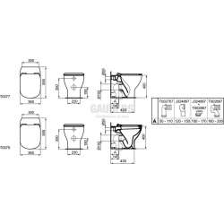 TESI стояща тоалетна чиния с плътно прилепване към стената 2