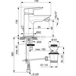 TESI стоящ смесител за биде с метален изпразнител 2