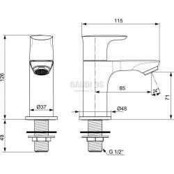 Connect Air канела стояща, ограничител дебит 5л/мин 2