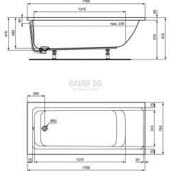 Connect Air правоъгълна вана за вграждане 170х75см 1