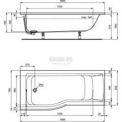 Connect Air Shower акрилна вана 170х70 см лява версия 1