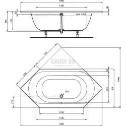Connect Air шестоъгълна акрилна за вграждане 190х90 см 1
