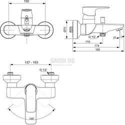 Connect Air стенен смесител за душ/вана 1