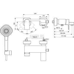 EDGE смесител стенен за вана/душ с аксесоари 1