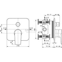 EDGE вграден смесител за вана/душ 1