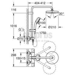 Grohe Tempesta Cosmopolitan System 210 душ система с термостат, стенен монтаж 1