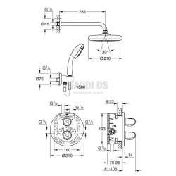 Grohe душ гарнитура с термостатичен смесител за вграждане GRT 1000 1