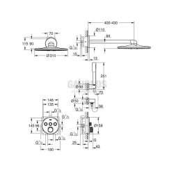 Grohe душ комплект за вграждане с термостат GRT SmartControl 2