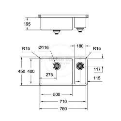 Grohe К700 двойна мивка за вграждане, неръждаема стомана 1
