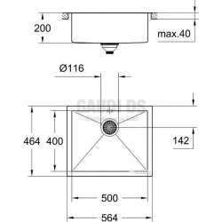Grohe К700 мивка монтаж върху плот 50х40 1