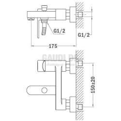Teka Nexos стенен смесител за душ/вана хром/черен 1