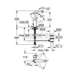 Grohe Lineare - Смесител за баня, L-размер 2