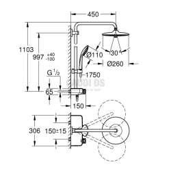 GROHE Euphoria 260 - термостатна душ система 2