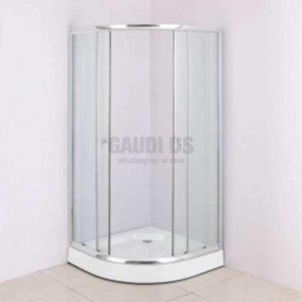 Macedonia 90х90 прозрачна, 6 мм стъкло и корито gds_ICS 485