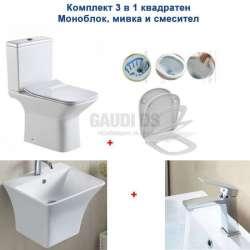 Комплект моноблок Rimless, мивка и смесител, квадратни ICC 7737+ICF 1491085+ICC 4837