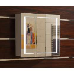 Огледален горен PVC шкаф за баня с LED осветление 70 см goren_601570_pvc_icgds
