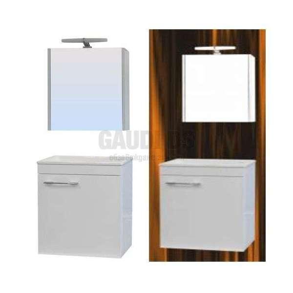 Комплект Mini Next 40см PVC огледален горен с LED, мивка, конзолни P4001UCL+MI4001N