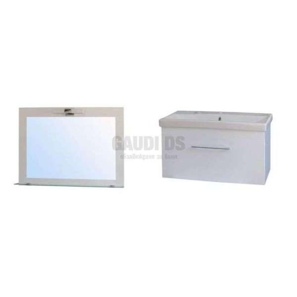 Комплект Elit 100см - Slim Line PVC, огледало с LED, долен с мивка M10001UN+E10001N