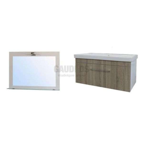 Комплект Elit 100 NPL - Slim Line PVC, огледало с LED, долен с мивка M10001UN+E100H1146N