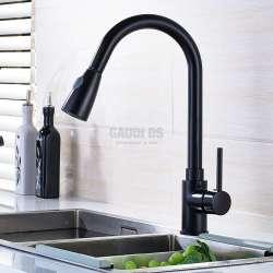 Черен кухненски смесител с изтеглящ се душ GDS_black_pulling shower