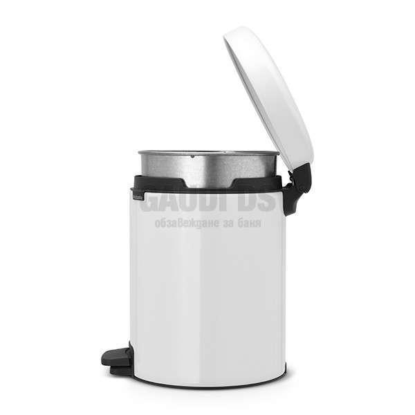 Brabantia NewIcon 5 l - с педал и метална кофа, бял 649017