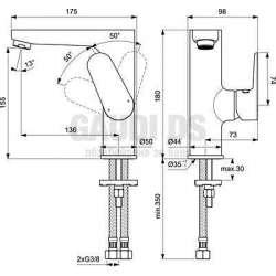 Ideal Standard - Tyria смесител за мивка, без изпразнител 2