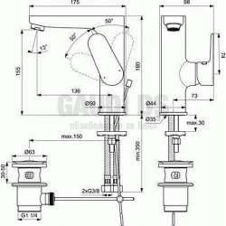Ideal Standard - Tyria смесител за мивка, с изпразнител 2