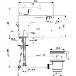 Ideal Standard - Tyria смесител за биде с изпразнител 2