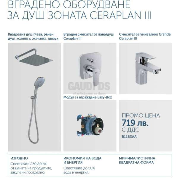 Промо комплект за вграждане Ideal Standard Ceraplan III B1153AA