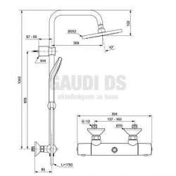 Душ система Ideal Standard - стенен термостатен смесител Idealjet EVO 1
