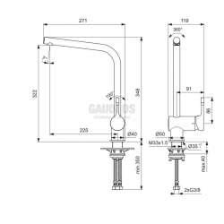Ideal Standard - кухненски, висок тръбен чучур Ceralook 2