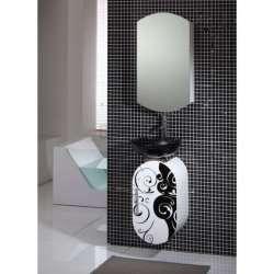 Комплект PVC шкафове Tifani с черна стъклена мивка gds_pvc_ICP3638