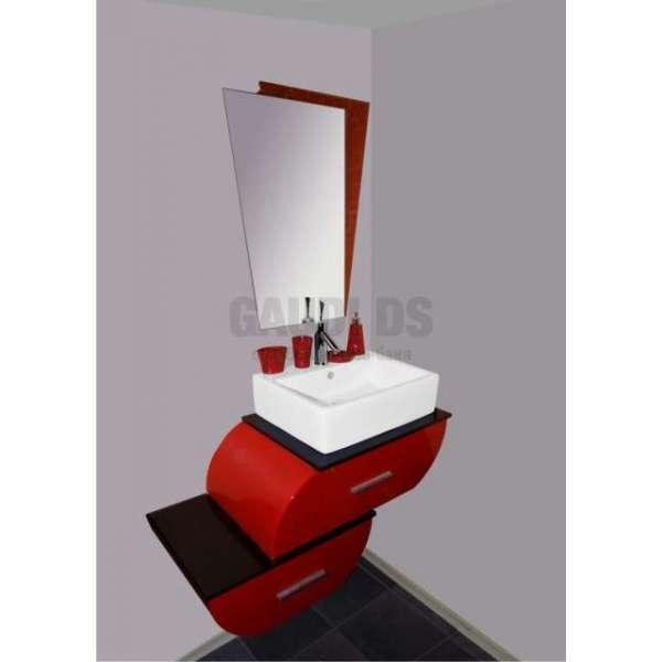 Комплект PVC шкаф с порцеланова мивка и огледало, червен gds_pvc_ICPH22