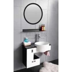 Комплект PVC шкаф 80 см с порцеланова мивка и огледало,кафяво-бял gds_pvc_ICP001