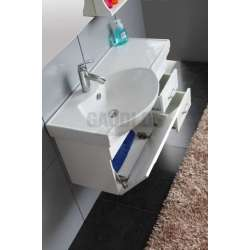 Комплект Veleka PVC - шкаф 91 см с порцеланова мивка и горен шкаф 1