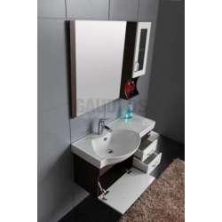 Комплект Veleka PVC - шкаф 91 см с порцеланова мивка,горен шкаф- бяло-кафяв 1