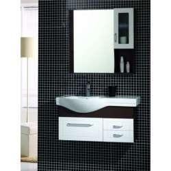 Комплект Veleka PVC - шкаф 91 см с порцеланова мивка,горен шкаф- бяло-кафяв gds_pvc_ICP133