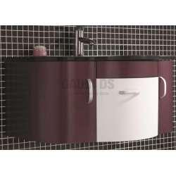 Комплект Struma PVC - шкаф 91 см стъклена мивка, огледало, лилаво-бял 1